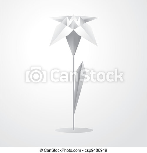Vector Origami Flower Illustration Of A White