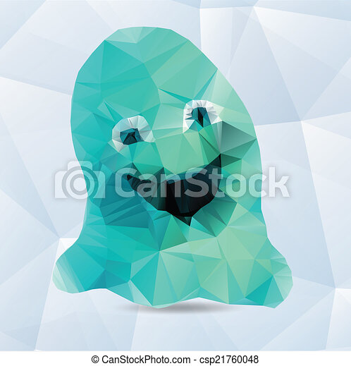 Vector Origami Ghost Funny