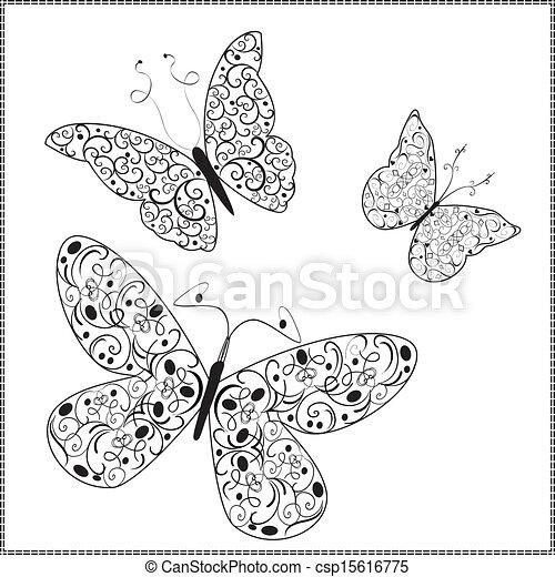Vector Ornament butterflies - csp15616775