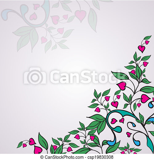 Vector ornament with green leaves and hearts - csp19830308