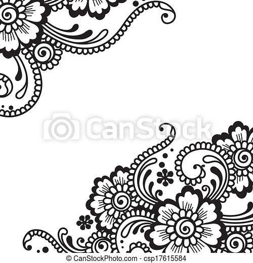 Ornamento de vector de flores - csp17615584