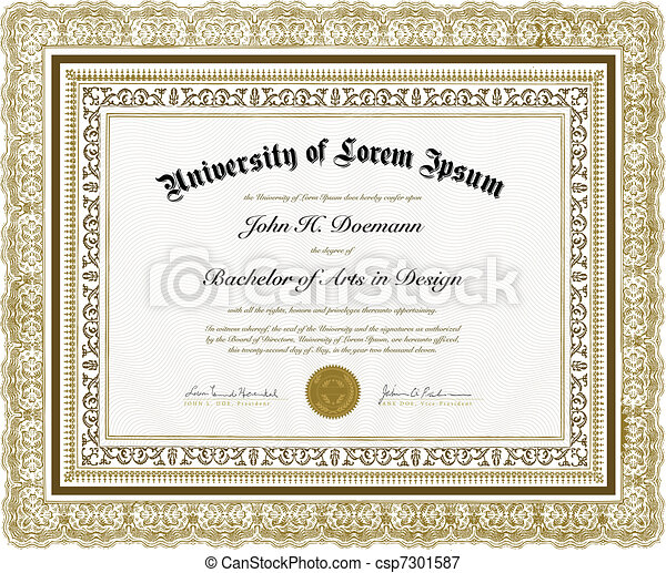 Vector Ornate Diploma and Frame - csp7301587