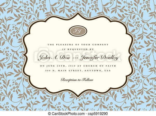 Vector Ornate Frame and Blue Ivy Background - csp5919290