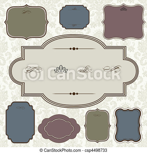 Vector Ornate Frame Set and Pattern - csp4498733