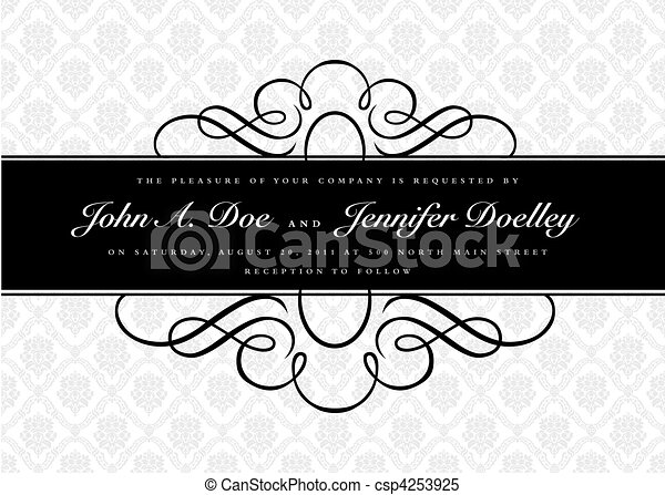 Vector Ornate Narrow Frame and Ornament - csp4253925