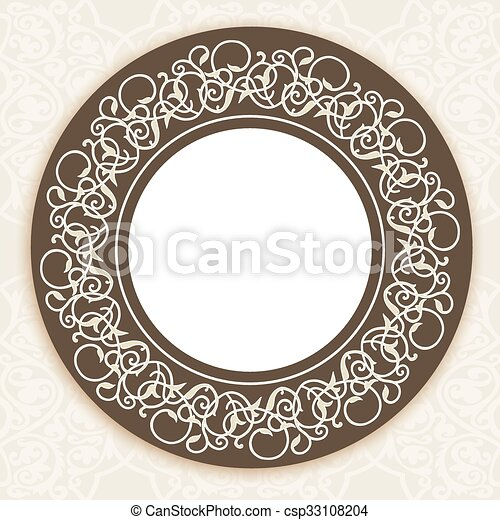 vector ornate round border in eastern style vector ornate