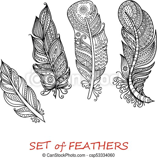 - Vector Ornate Set Of Stylized And Abstract Zentangle Feathers. Elements For  Design And Coloring Pages.