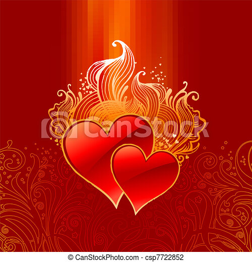 Vector ornate Valentines illustration with hearts - csp7722852