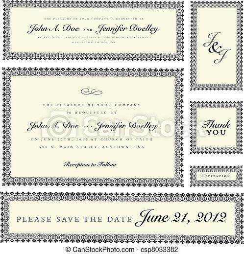 Vector Ornate Wedding Frame Set - csp8033382