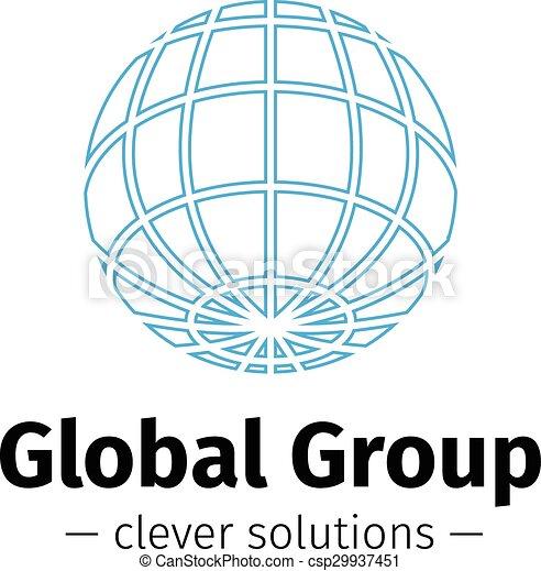 Vector outline Earth logo  Elegant globe symbol