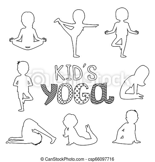 Vector Outline Kids Yoga Poses Isolated On White Background Illustration Of Fitness Yoga For Exercise Girl Pose