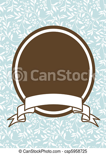 Vector Oval Frame and Floral Background - csp5958725