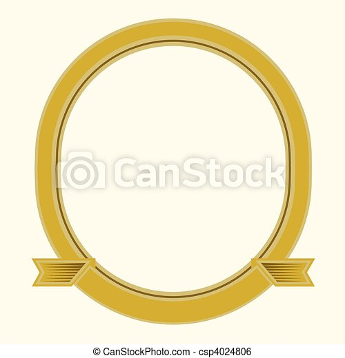 Vector oval frame. Illustrated frame, easy to change colors and edit ...