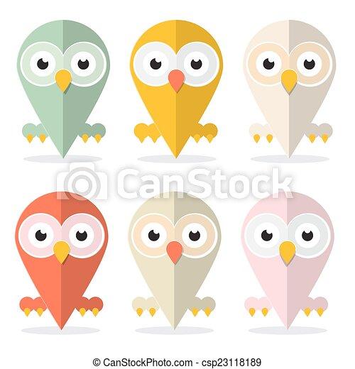 Vector Owls Set Illustration Isolated on White Background - csp23118189
