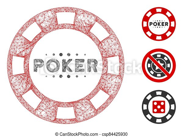 vector, póker, casino, tela, ilustración, malla, astilla, polygonal - csp84425930