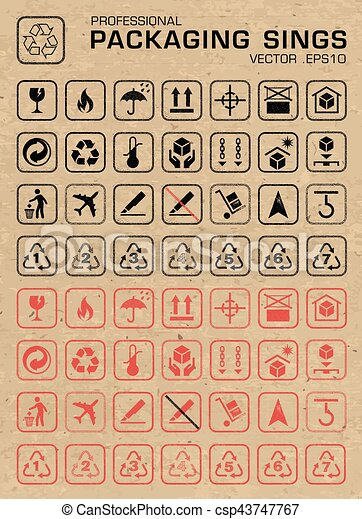 Vector Packaging Grunge Icons Set - csp43747767