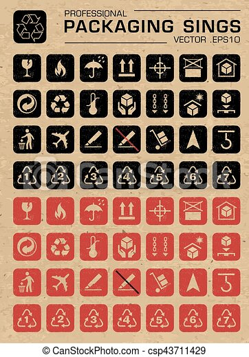 Vector Packaging Grunge Icons Set - csp43711429