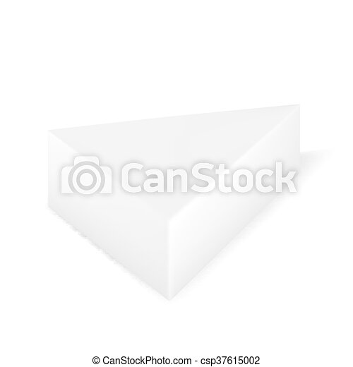 Vector Packaging White Gray Triangle Packaging Box On Isolated White