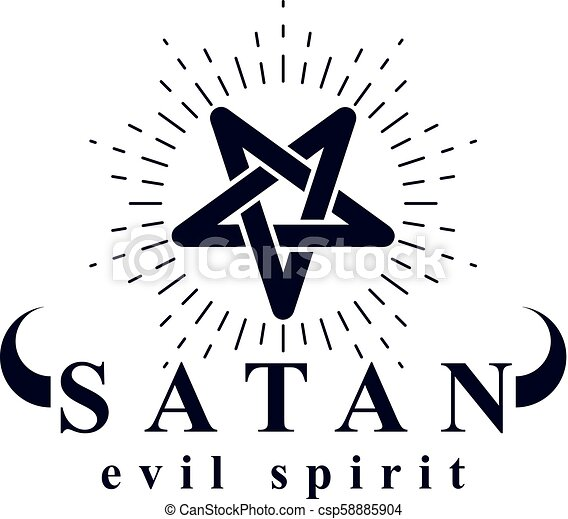 Vector Pagan Symbol Pentacle Created With Satan Inscription