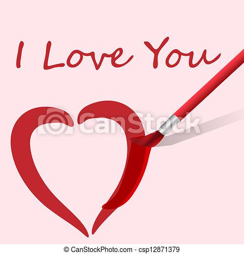 Vector paintbrush paints heart - csp12871379