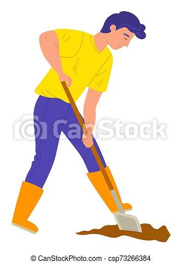 Jardinero con pala, cavando tierra, vector de granja - csp73266384