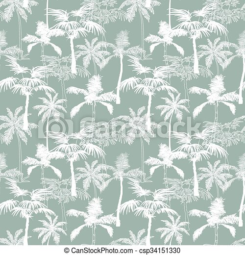 Vector Palm Trees California Grey Texture Seamless Pattern Surface Design With Exotic, Decorative, Hand Drawn Palms. - csp34151330