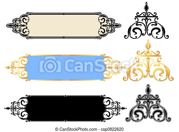 Vector panels design with scrolls - csp0822620