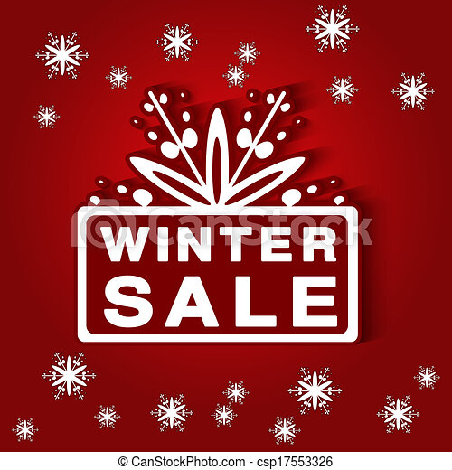 Vector paper label - winter sale, red background - Christmas offer - csp17553326