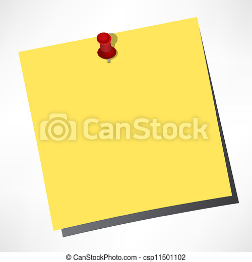 vector paper notes of yellow color on a white background with a pushpin - csp11501102