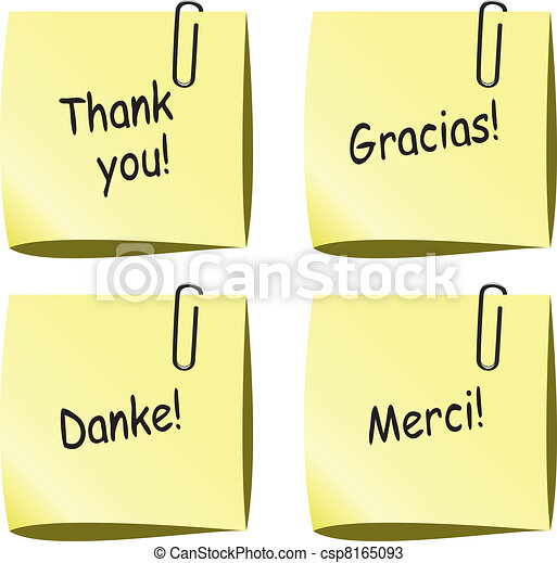 vector paper notes with push pin and thank you words - csp8165093