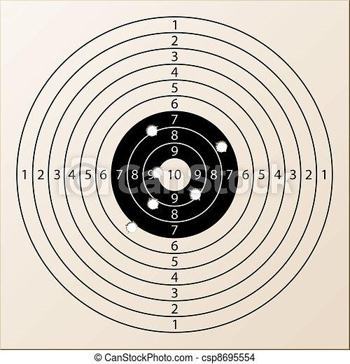 vector paper rifle target with bullet holes - csp8695554