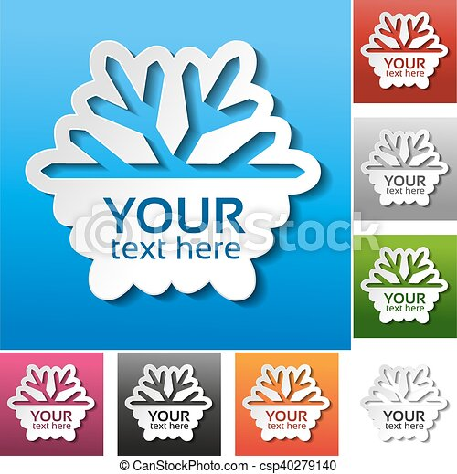 Vector paper snowflake on the red, blue, green, pink, black, grey, orange and white background. Winter sale label, sticker - Christmas offer - csp40279140