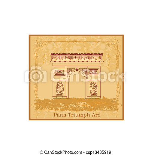 Ilustración vectorial trazada a mano del arco de triunfo de París - csp13435919