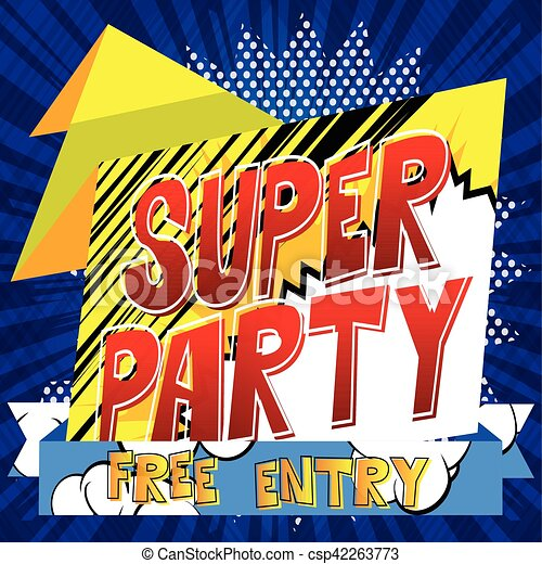 vector party banner with comic book theme