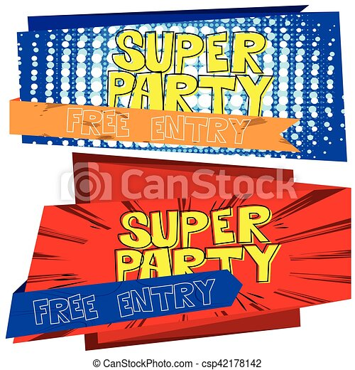 vector party flyer poster template on comic book theme