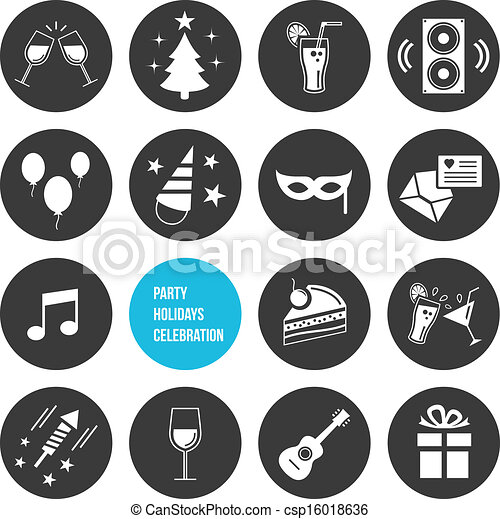 Vector Party Icons Set  - csp16018636