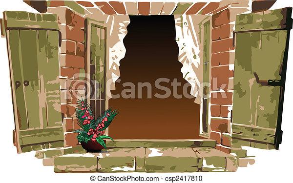 Vieja ventana con flor. Ilustración del vector - csp2417810