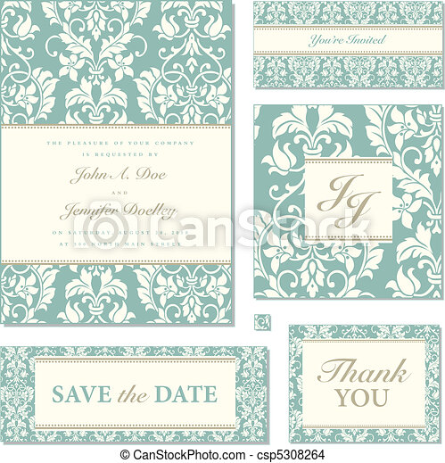 Vector Pastel Florals Wedding Frame Set - csp5308264