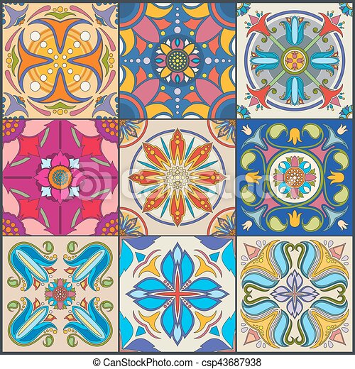 Vector patchwork seamless wall tile pattern, ceramic mexican tiles - csp43687938