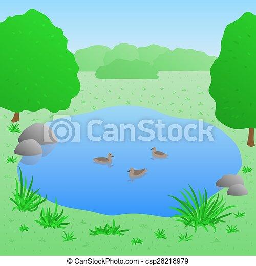Vector patos lago ilustraci n hermoso verano paisaje for Lago disegno
