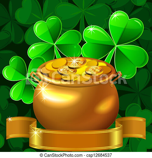 vector Patrick card with clover and gold pot - csp12684537