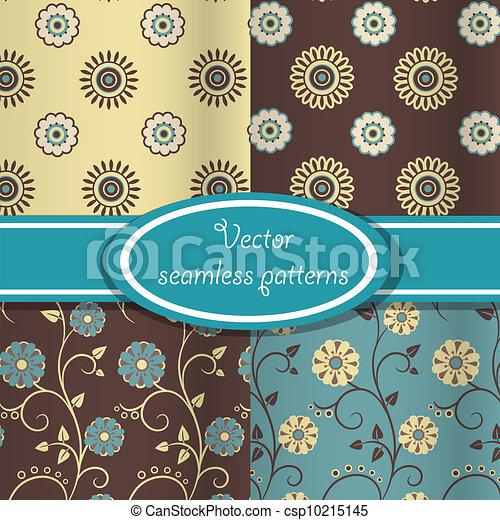 Vectores de patrones florales antiguos - csp10215145