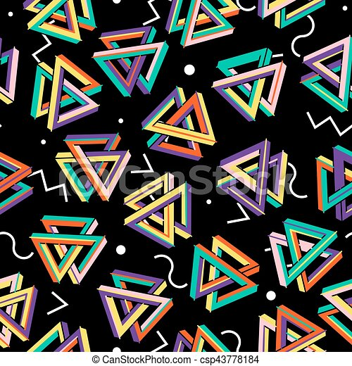 Vector Pattern 80s  Seamless Background  Retro Memphis Style