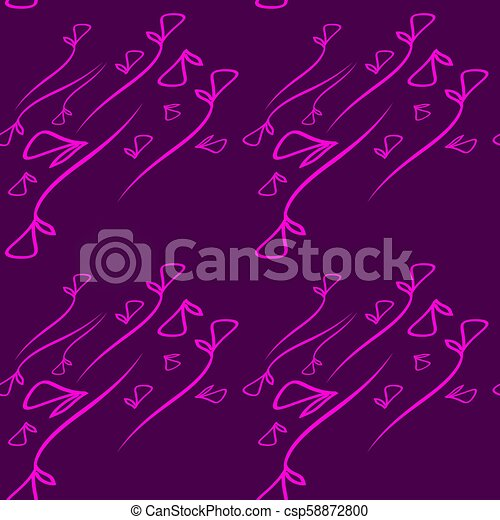 Vector pattern from plant pink elements on a lilac background in a geometric style. - csp58872800