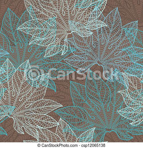 vector, pattern), (seamless, leaves., illustratie - csp12065138
