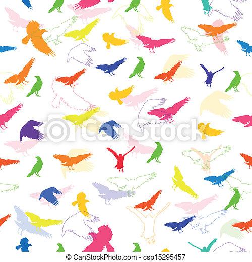 Vector Pattern with Birds - csp15295457