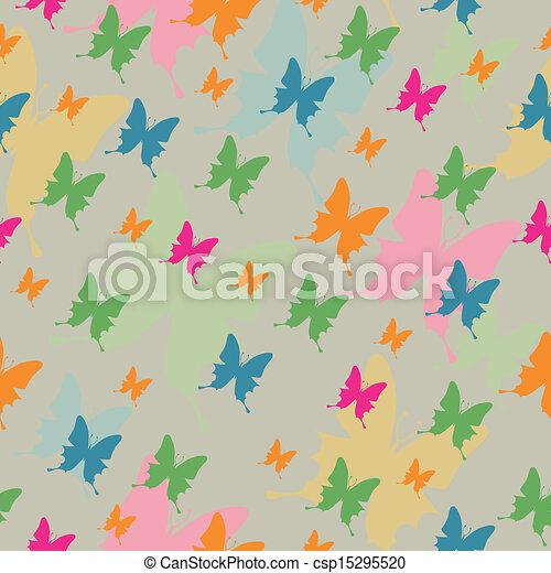 Vector Pattern with Butterflies - csp15295520