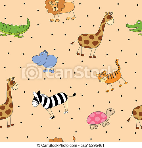 Vector Pattern with Cartoon Animals - csp15295461