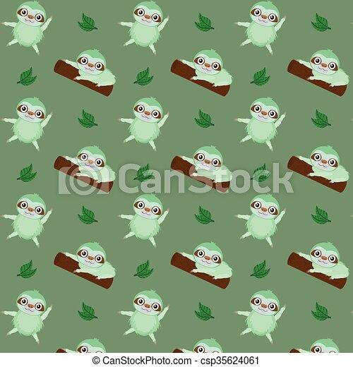 Vector pattern with cute cartoon sloth - csp35624061