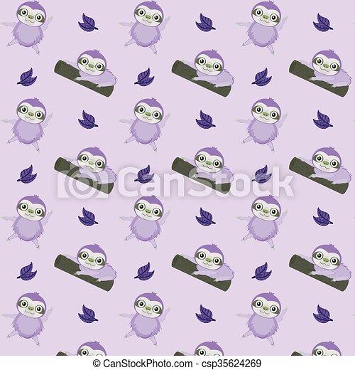 Vector pattern with cute cartoon sloth - csp35624269